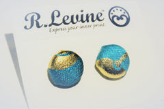 Teal and Gold Foil Swirl Stud Earrings