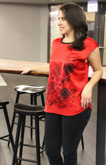 Wire Flower Red Blouse