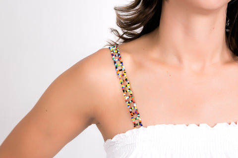 Multi-colored Beaded Bra Straps