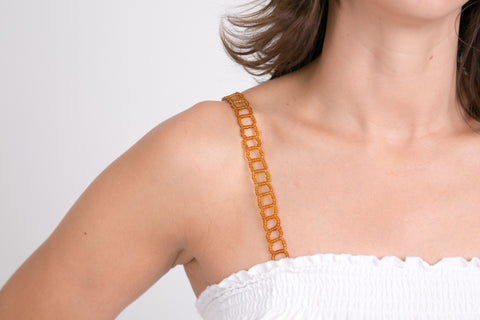 Brown Beaded Bra Straps