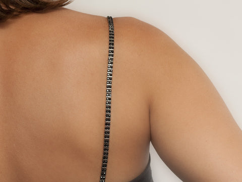 Black Crystal, Double Row, Bra Straps