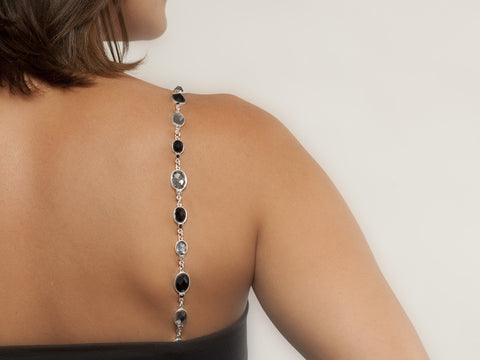 Faceted Gems in Silver Bra Straps
