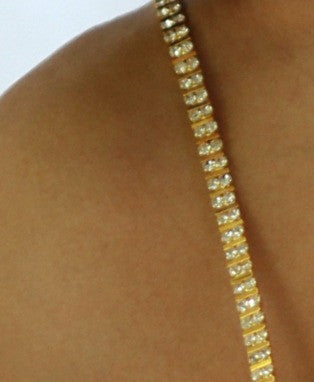 Double Row Gold Rhinestones
