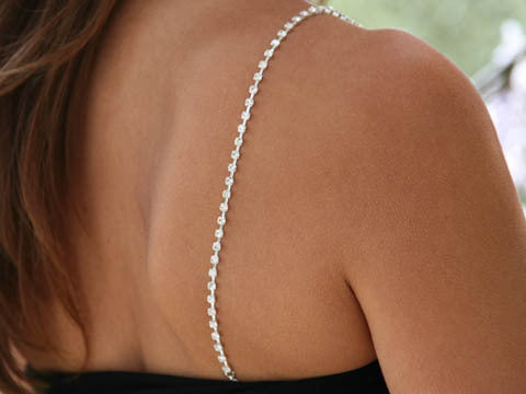 Single Row Rhinestone Straps Silver