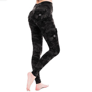 Women Stretchy Eco-Friendly Bamboo Pockets Camouflage Leggings Yoga Pants