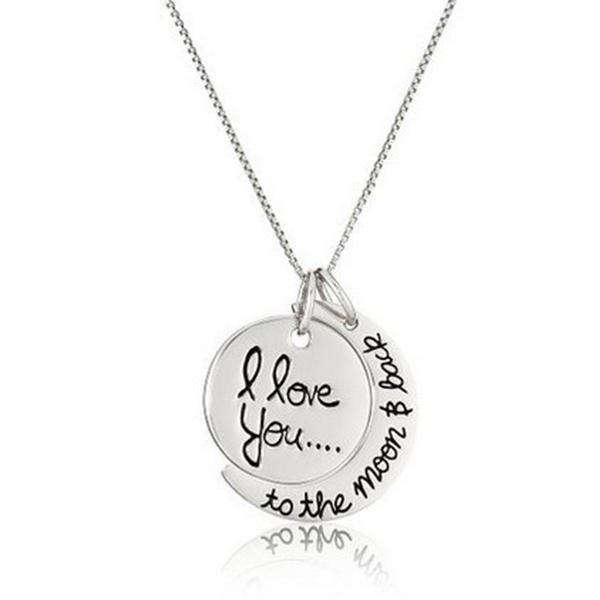 """I Love You to the Moon & Back"" Pendant Necklace-Necklace-Prime4Choice.com-"