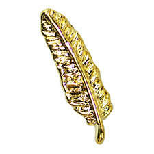 SHAREYDVA Metal Studs Feather Gold 9mmx3mm 8P