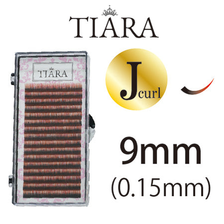 TIARA Gradation Color Lash Red & Black J Curl 9mm