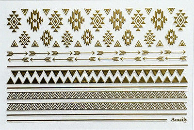 Amaily Nail Sticker No. 8-10 Native Pattern Gold