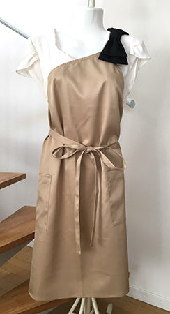 Charlon One Shoulder Ribbon Apron Beige