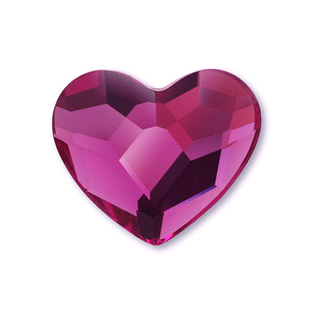 Swarovski Crystal #2808 Fuchsia Heart M 6 mm 6 P