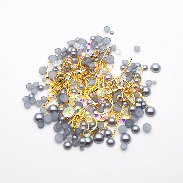 Nail Accessories Pearl & Parts MIX Flat Bottom   Dark gray