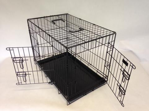 2 Door black powder coated Tough Cages NOW WITH FREE VET BED