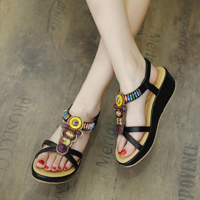 Fashion Women Middle Heel Sandals Sandals Vintage - ida-trends