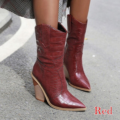 Pointed Toe Women Boots Pu Leather Wedge High Heel Ankle Boots chunky Winter Cowboy Boots for Women Christmas Western Boots 2020 - ida-trends