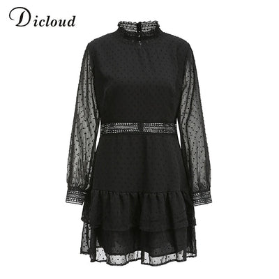 Women Hollow Out Black Dot Dress