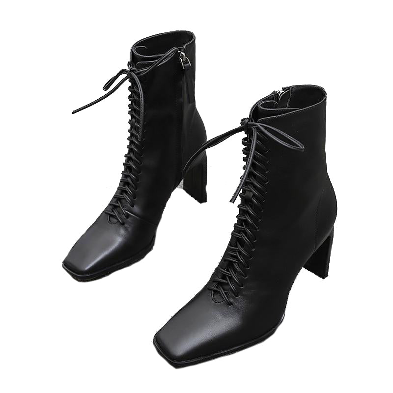 Woman Leather High Heels Boots