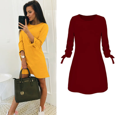 Casual O-Neck 3/4 Sleeve Mini Dress