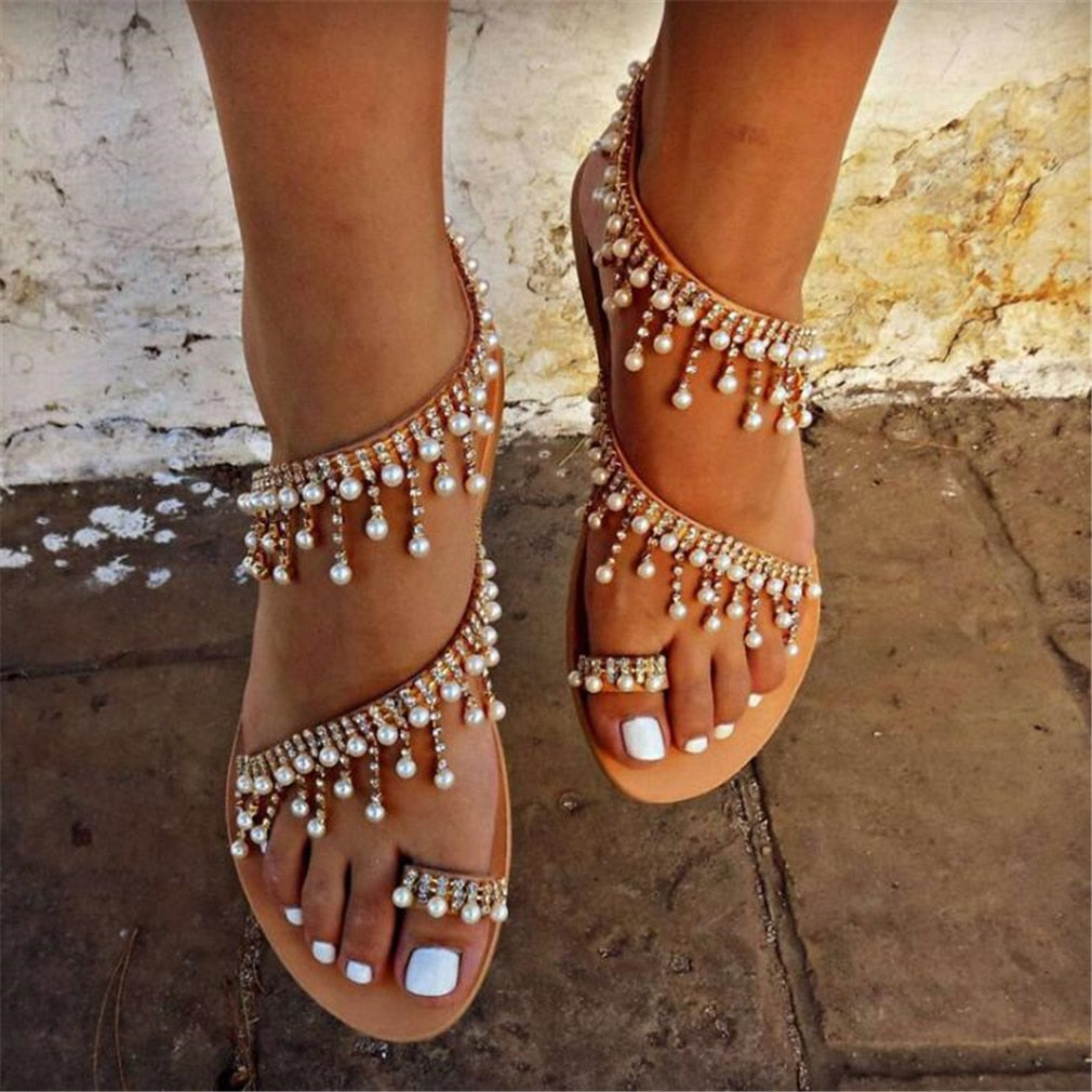 Women Leather Beading Flat Sandals