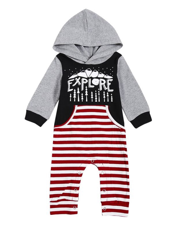 Explore Red Stripe Hooded Romper
