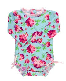 Rufflebutts Life Is Rosy One Piece Long Sleeve Rash Guard Swimsuit