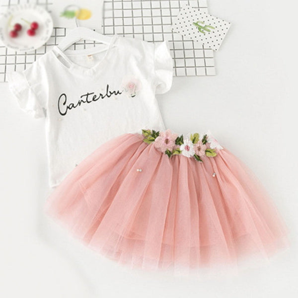 Girls Dress Kids Clothes Butterfly Sleeve Letter T-shirt+Floral Voile Dress 2Pcs for Clothing Sets