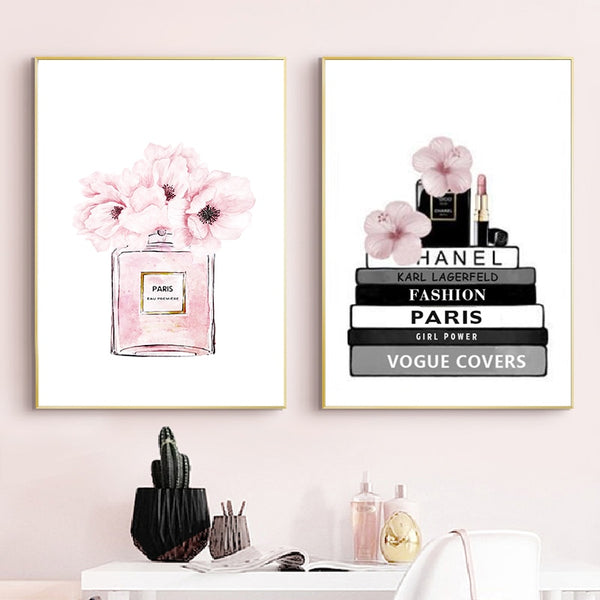 Fashion Book and Perfume Girly Girl Modern Canvas Wall Art