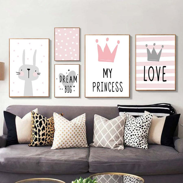 Girly Girl and Kid's Room Cartoons Typography Canvas Wall Art