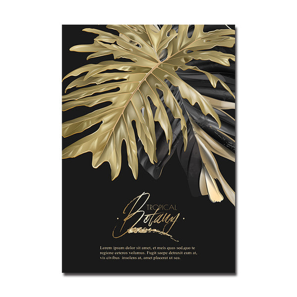 Dark Modern Golden Leaf Botanical Canvas Wall Art