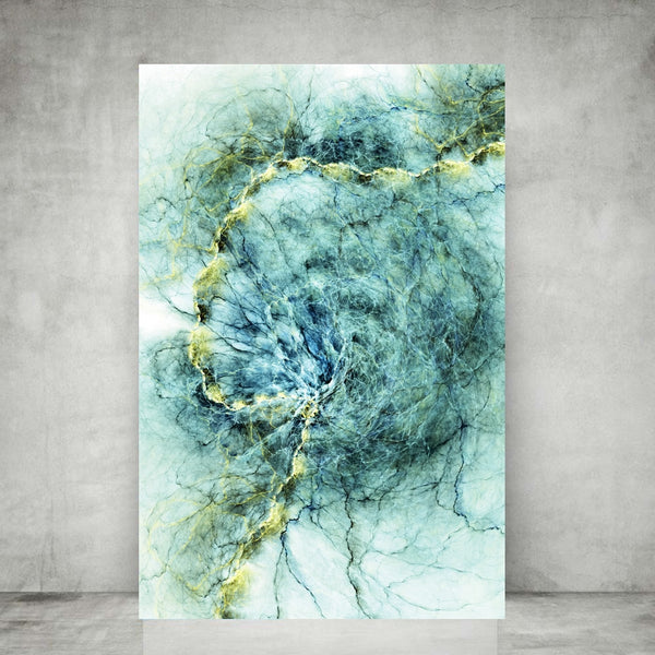 Modern Light Turquoise Splash Canvas Wall Art.
