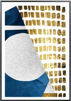 Modern Geometric Blue Gold Moon Canvas Wall Art