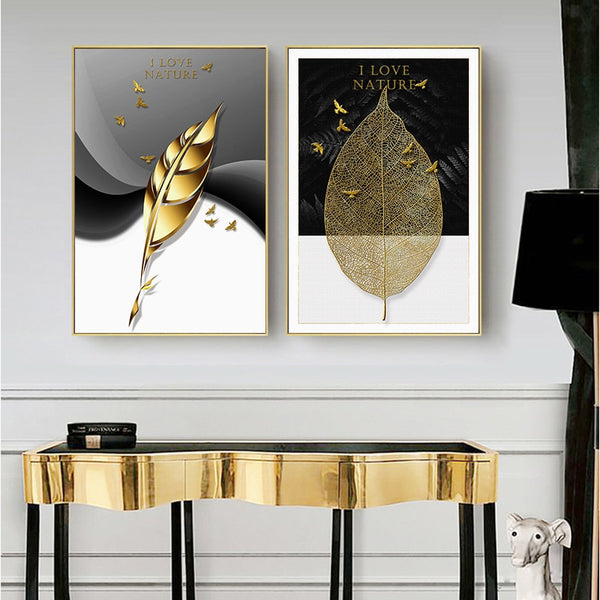 Golden Feather and Leaves Modern Botanical Canvas Wall Art