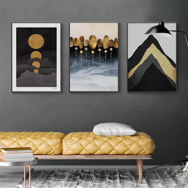 Modern Black and Gold Mountain Canvas Wall Art