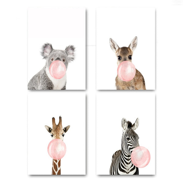 Animals Bubble Gum Girly Girl and Kid's Room Canvas Wall Art
