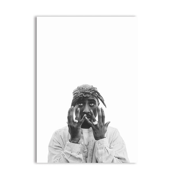 Tupac Shakur Rap Poster Typography Canvas Wall Art