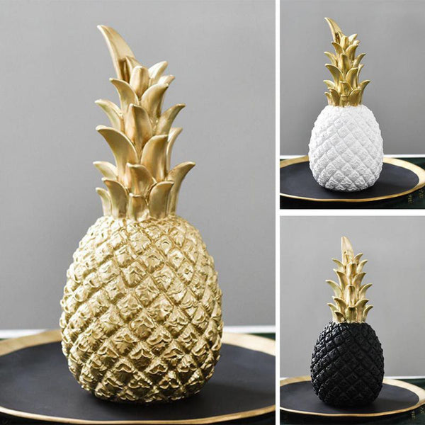 Gold, Black, and White Tropical Pineapple Table Top Decoration