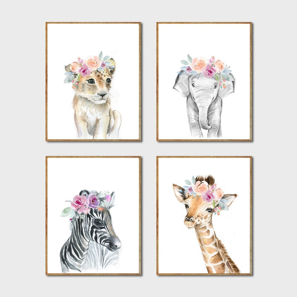 Animals Floral Crown Canvas Wall Art