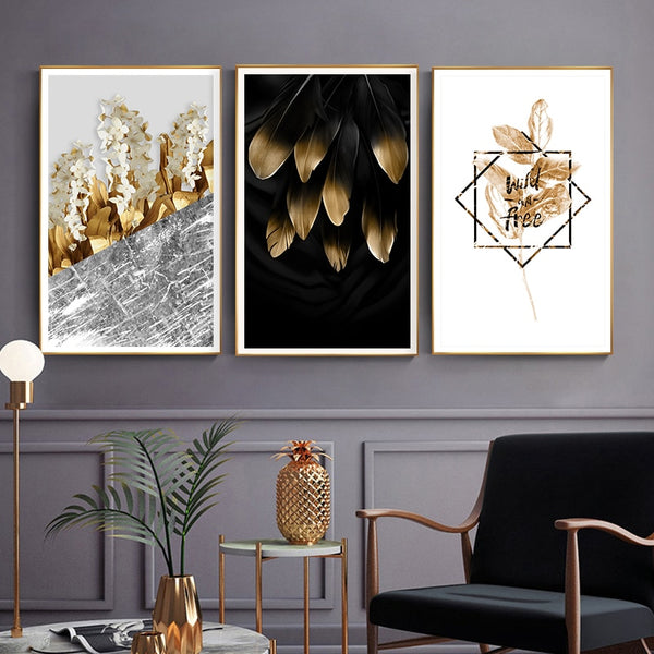 Modern Golden Garden Botanical and Typography Canvas Wall Art