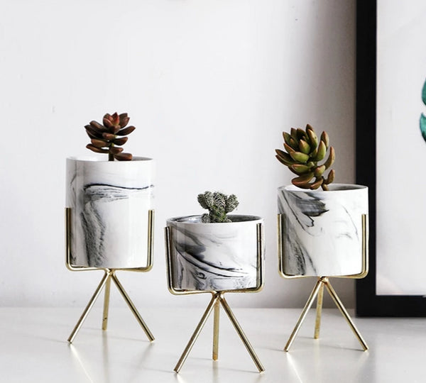Modern White, Black, and Gold Marble Art Vase Botanical Table Top Decoration