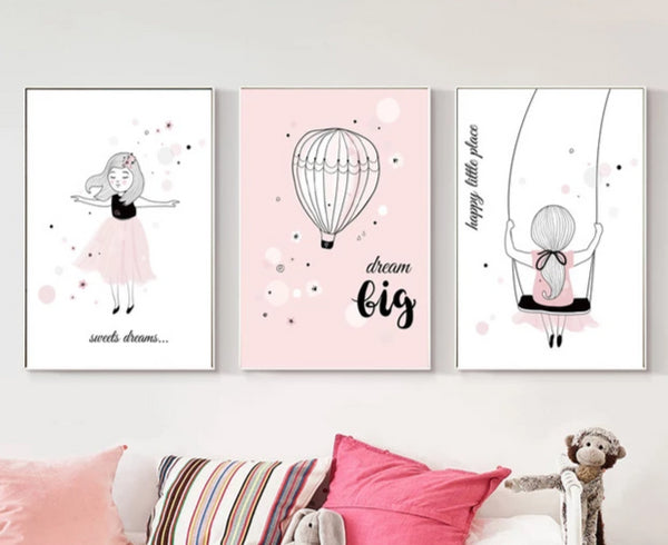 Pink Girly Girl and Kids Typography Canvas Wall Art