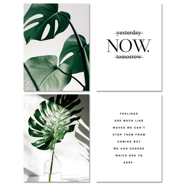 Motivational Green Leaf Botanical and Typography Canvas Wall Art