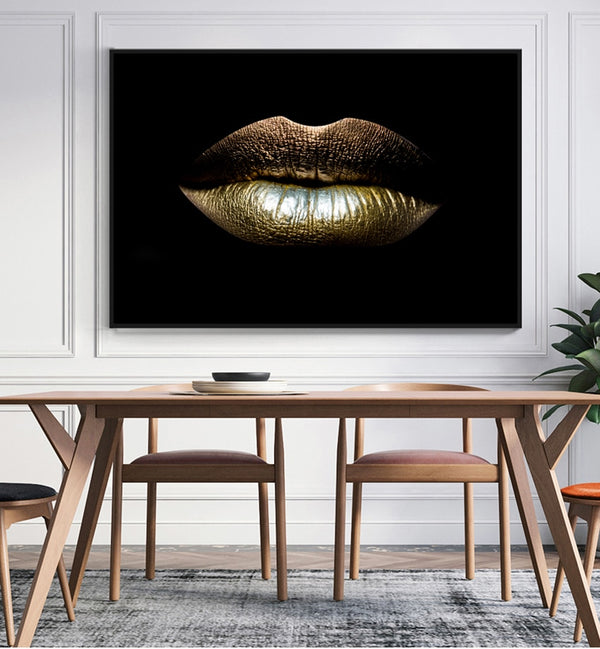 Black and White Sexy Lips Modern Canvas Wall Art