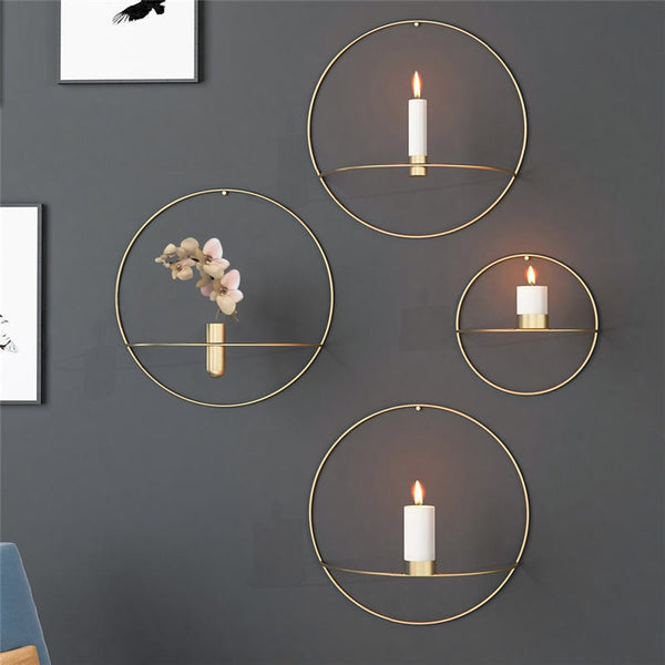 European Wall Mounted Home Decor Circle Candle Holder
