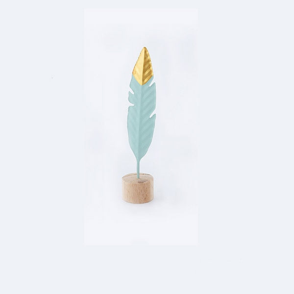Modern Iron Feather Wooden Base Home Decor Accessories