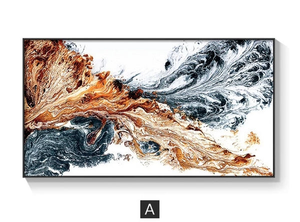 Golden Ink Splash Modern Canvas Wall Art