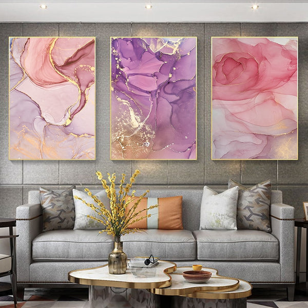 Bright Pink and Purple Petals Modern Botanical Canvas Wall Art