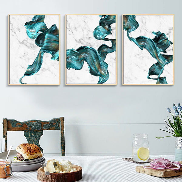 Green and Marble Modern Ink Flow Canvas Wall Art