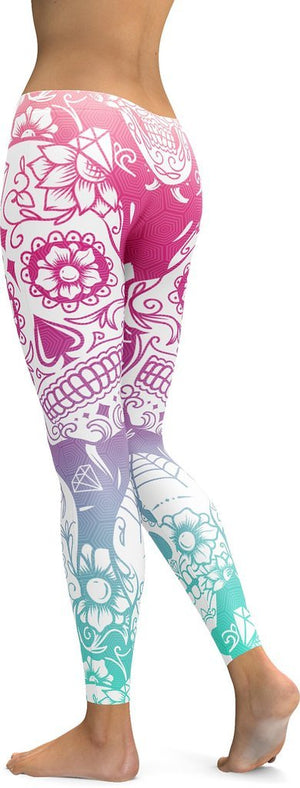 BRIGHT SUGAR SKULL LEGGINGS