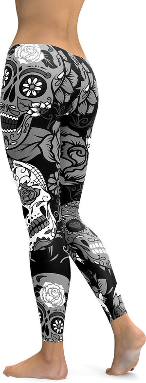BLACK & WHITE SUGAR SKULL LEGGINGS