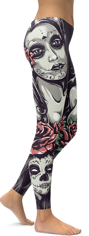 SUGAR SKULLS AND ROSES LEGGINGS / YOGA PANTS